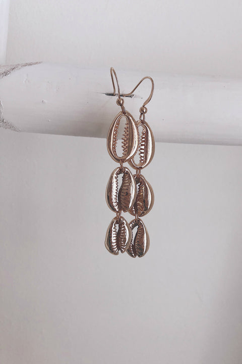 Sky Line Tiered Gold Cowrie Shell Earrings