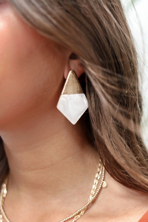 Gold and Marble Geometric Earrings