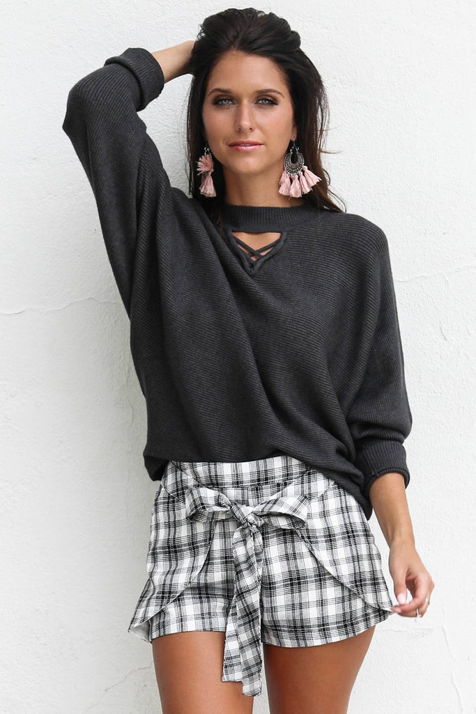 For Show Charcoal Ribbed Sweater Knit Pullover