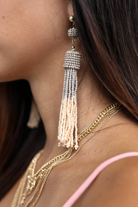 Blush and Gray Two-Toned Beaded Tassel Earring
