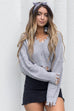 About Time Shredded Gray V-Neck Sweater