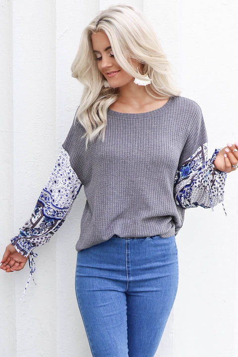 Never Change Charcoal Top with Boho Gypsy Sleeves
