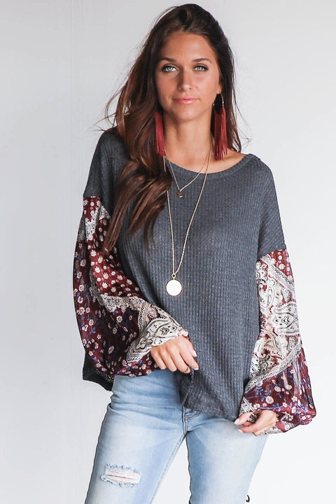 Hazy Days Charcoal & Burgundy Gypsy Sleeve Top