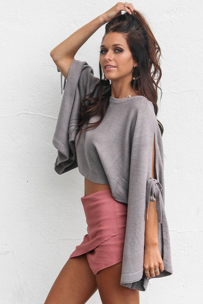 Close Motion Gray Tie Open Sleeve Crop Sweater