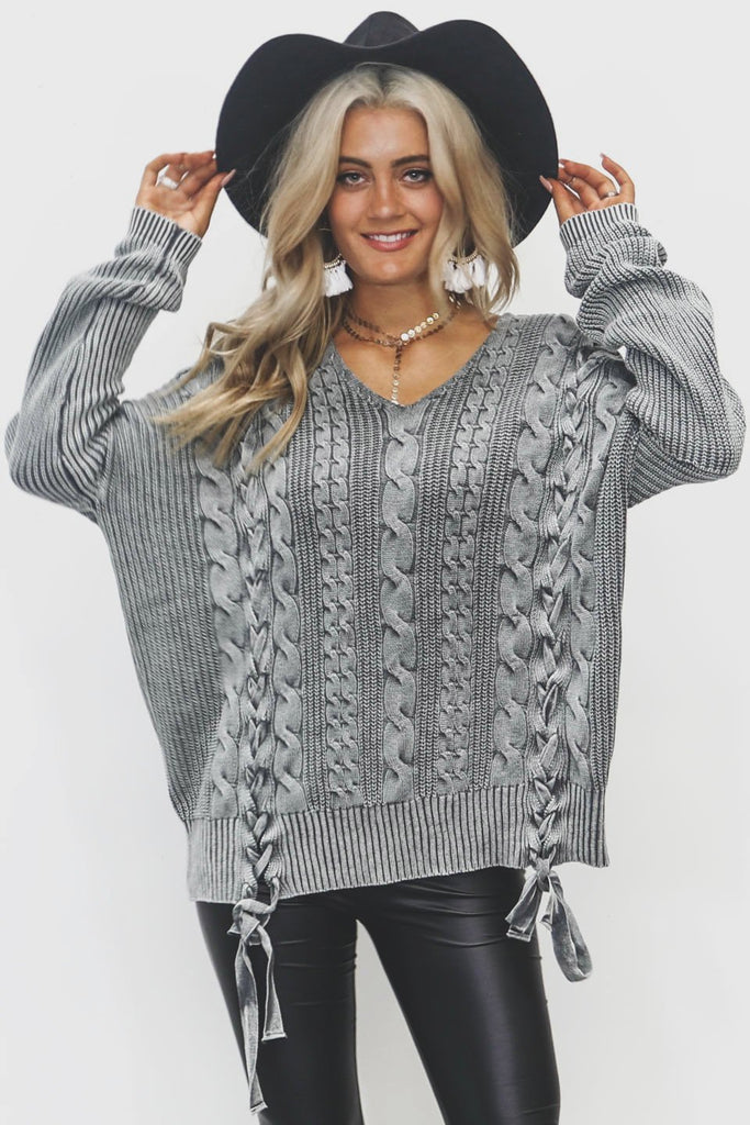 Staying Here Distressed Gray Sweater