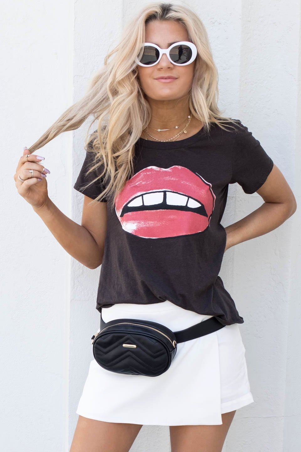 CHASER Besame Strappy Back Union Black Tee