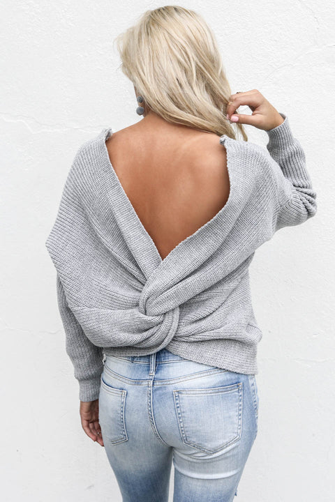 In A Dream Heather Gray Twisted Detail Sweater - Amazing Lace