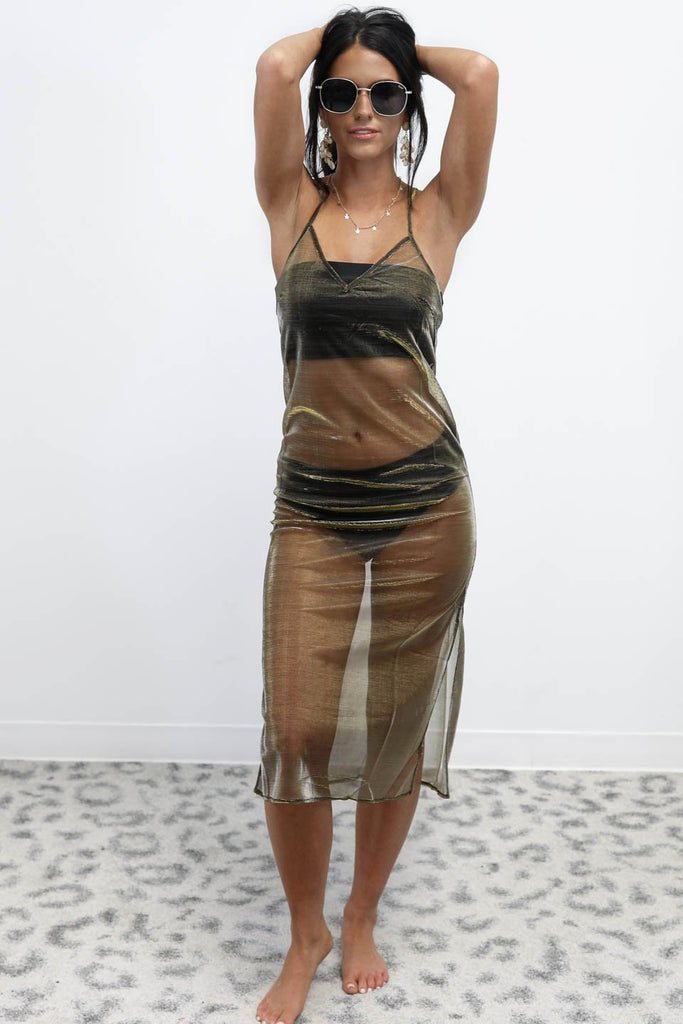 Affection Gold Sheer Swim Cover Up