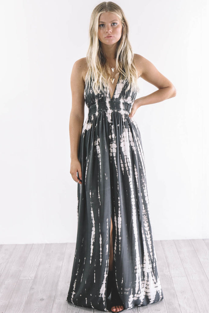 Never Gets Old Tie Dye Charcoal Maxi Dress - Amazing Lace