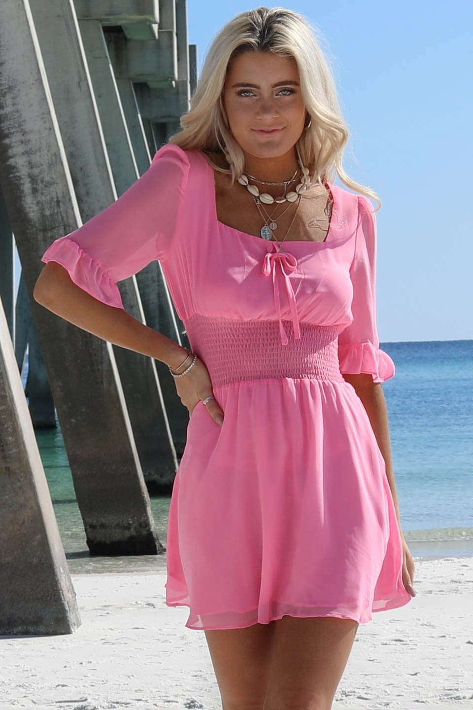 Like Candy Bright Pink Ruffle Peasant Dress