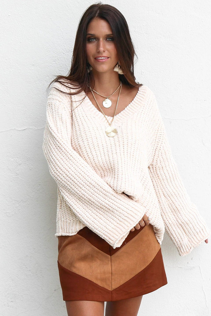 Going Mobile Chenille V-Neck Cream Flare Sleeve Sweater