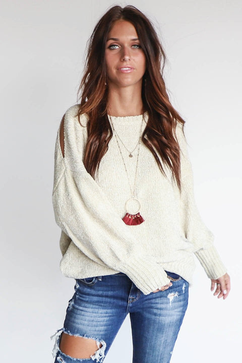 Holding You Dusty Snow Chenille Cold Shoulder Sweater