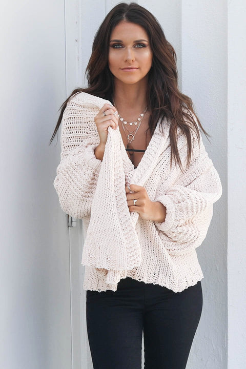Without Me Oatmeal Chenille Cardigan