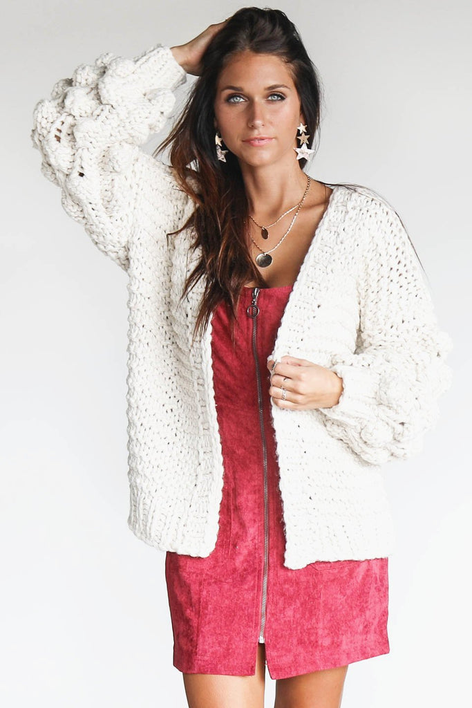 Knowing You Chunky Ivory Pom Pom Cardigan