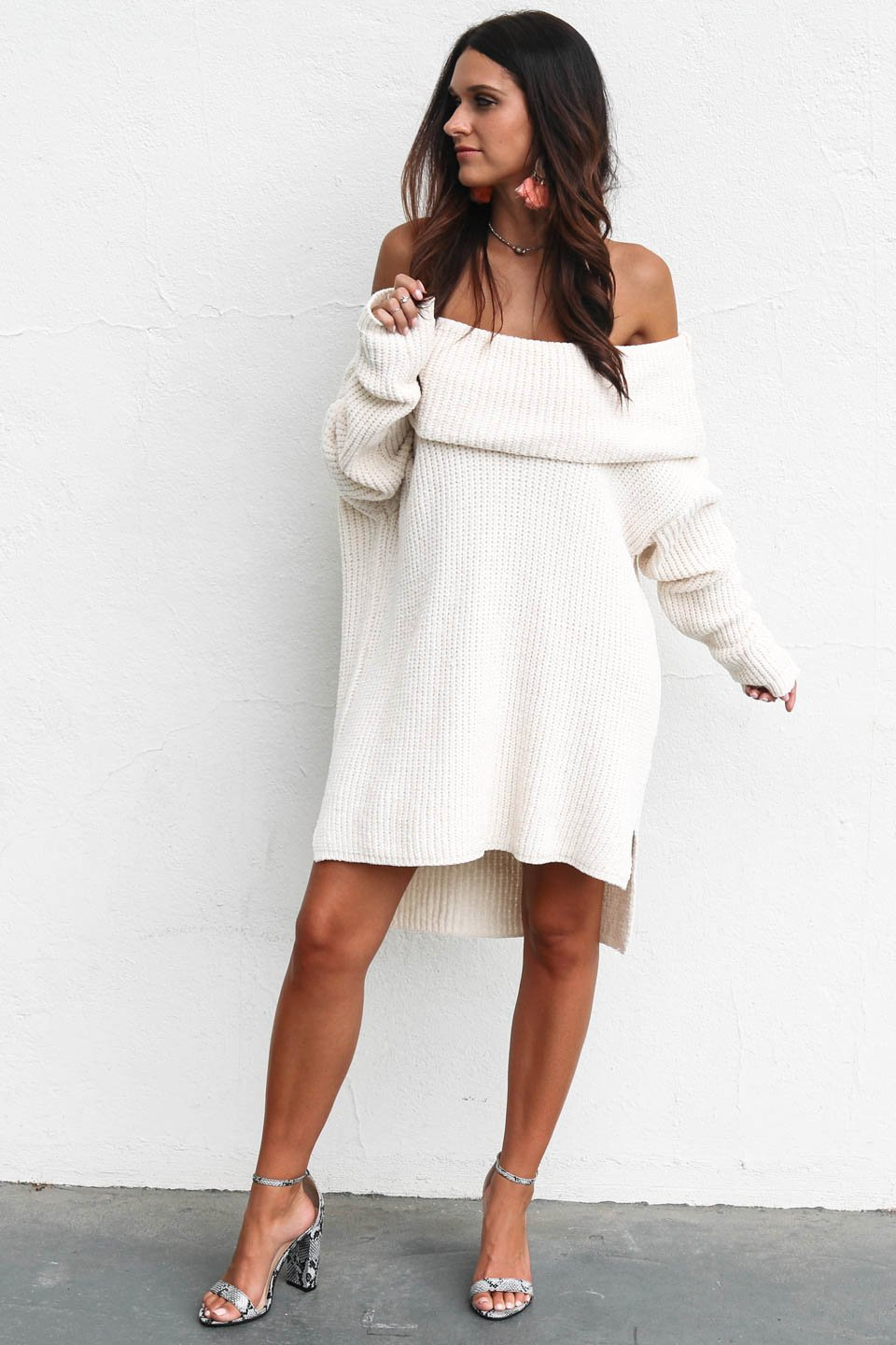 No Confusion Cream Off the Shoulder Sweater Dress