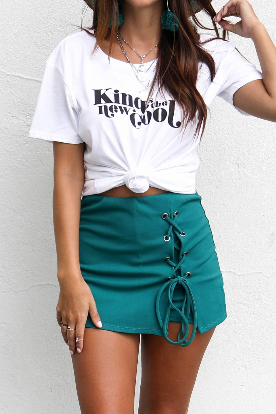 All Intertwined Kelly Green Lace Up Skort