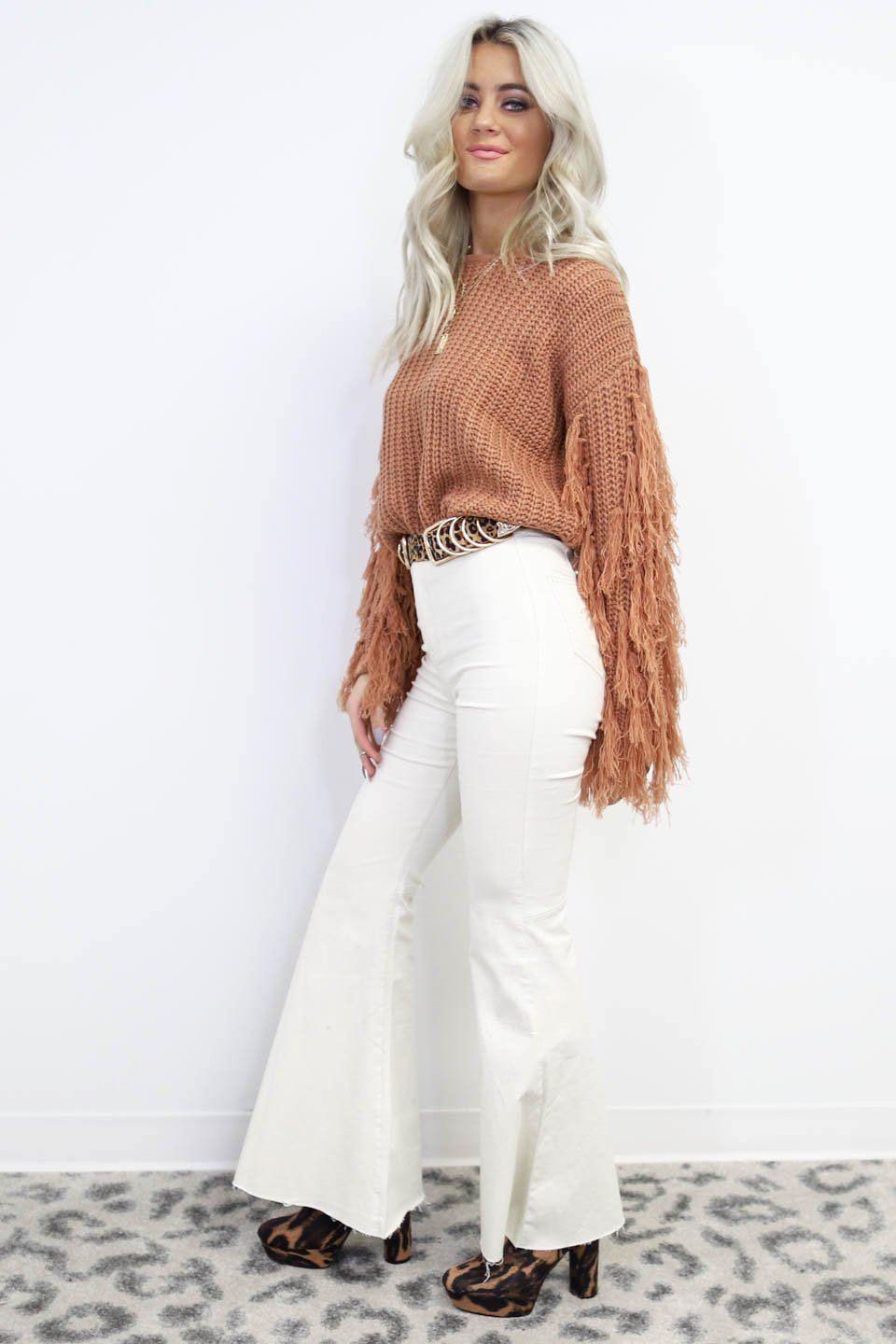 Special Kind Cream Distressed Bell Bottom Jeans