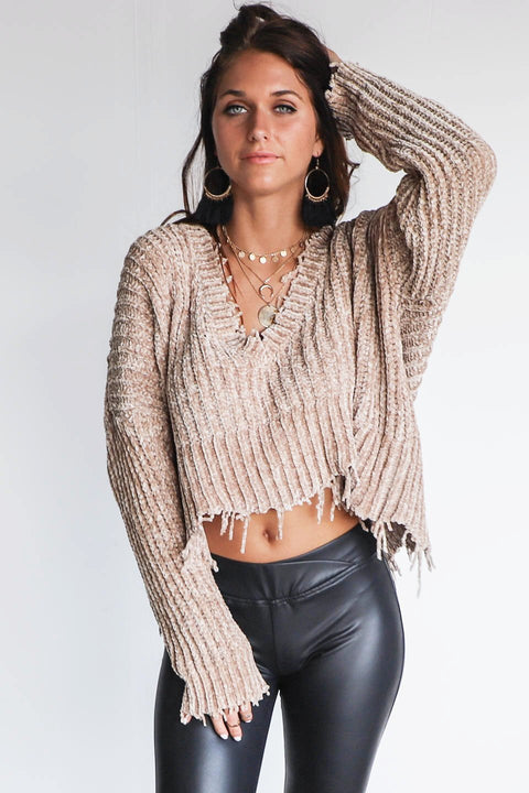 Behind Us Shredded Taupe Chenille V Neck Sweater
