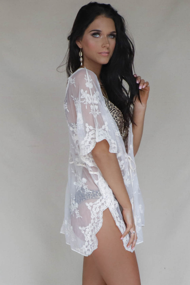 Well Wishes Cream Lace Sheer Kimono