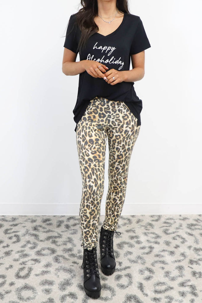 Say Yes Leopard Fleece Leggings