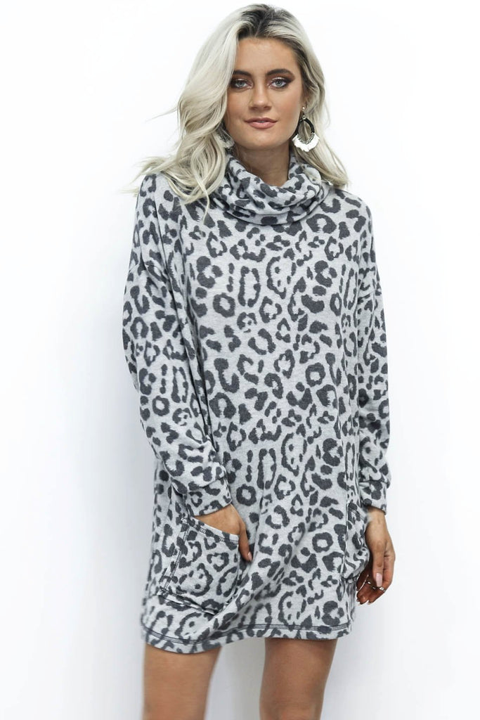 Vermont Leopard Cowl Neck Fleece Tunic Dress