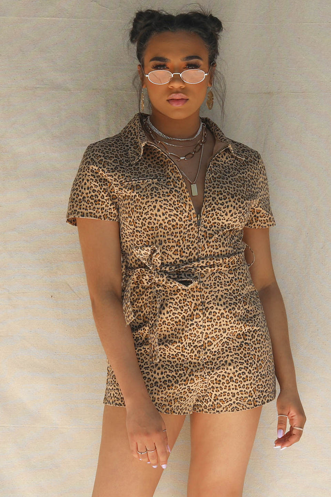 VIP Only Leopard Short Sleeve Belted Romper