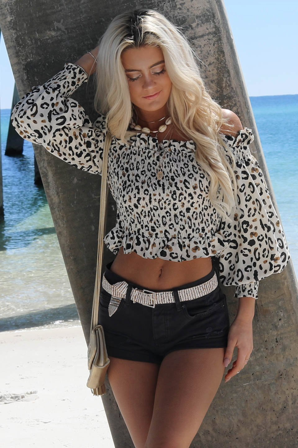 My Match Cream Leopard Smocked Top