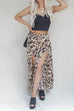 Luxury Satin Leopard Wide Leg Slit Pant