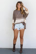 On Hold Loose Fit Mocha Sweater Top - Amazing Lace