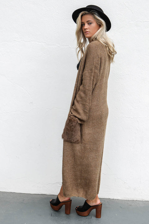 Let It Happen Long Sleeve Cardigan With Furry Pockets - Amazing Lace
