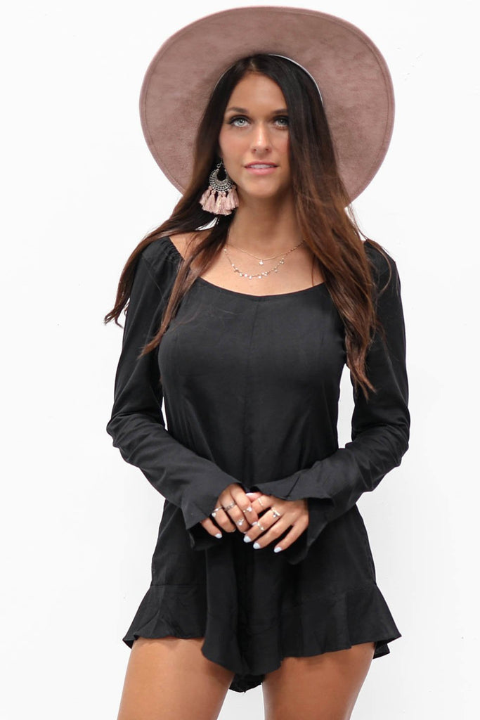 Really True Long Sleeve Black Playsuit Romper