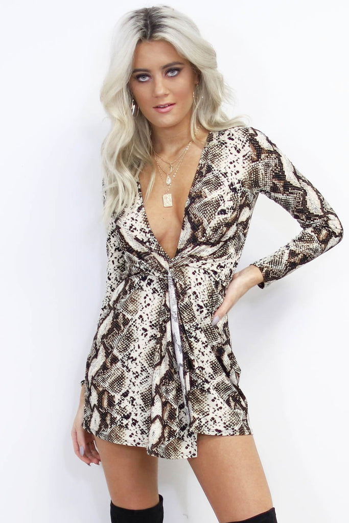 Our Flame Long Sleeve Snake Skin Dress
