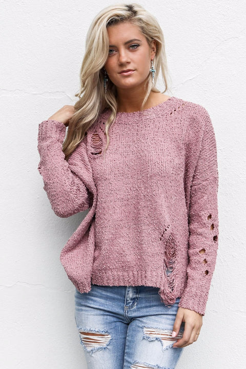 No Strings Attached Dark Mauve Sweater With Ripped Detail - Amazing Lace