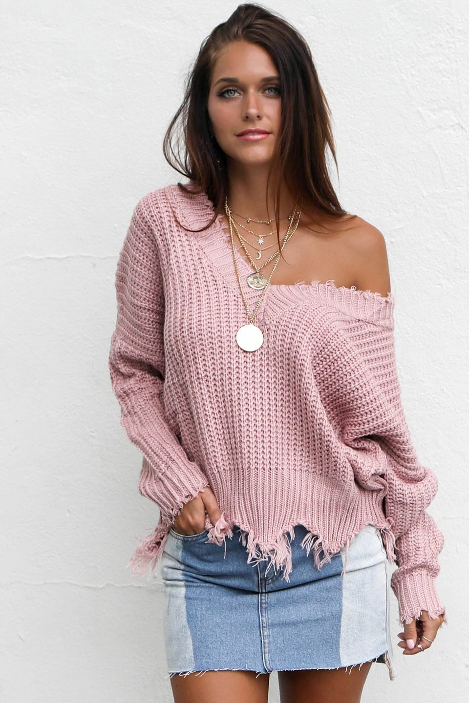 My One Shredded V-Neck Mauve Sweater