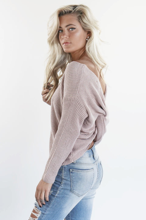 Break The Ice Light Pink Twist Back Sweater - Amazing Lace
