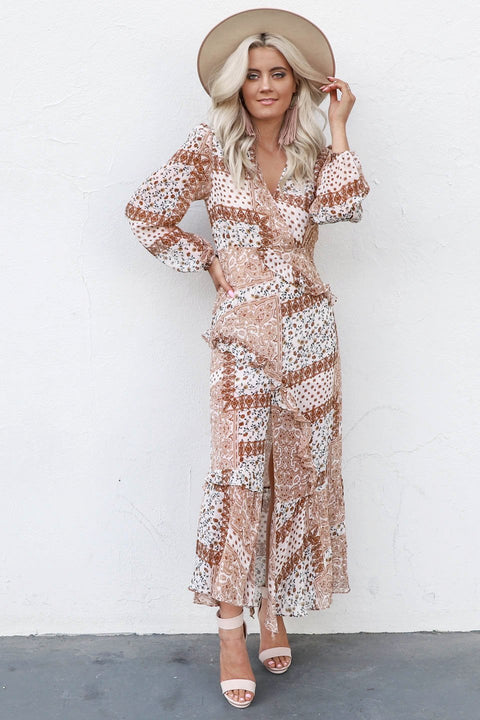 The Falls Camel Boho Floral Midi Dress