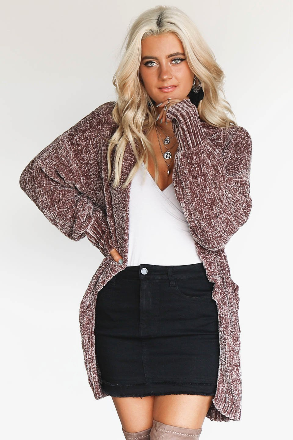 Goodnight & Go Chenille Mocha Cardigan