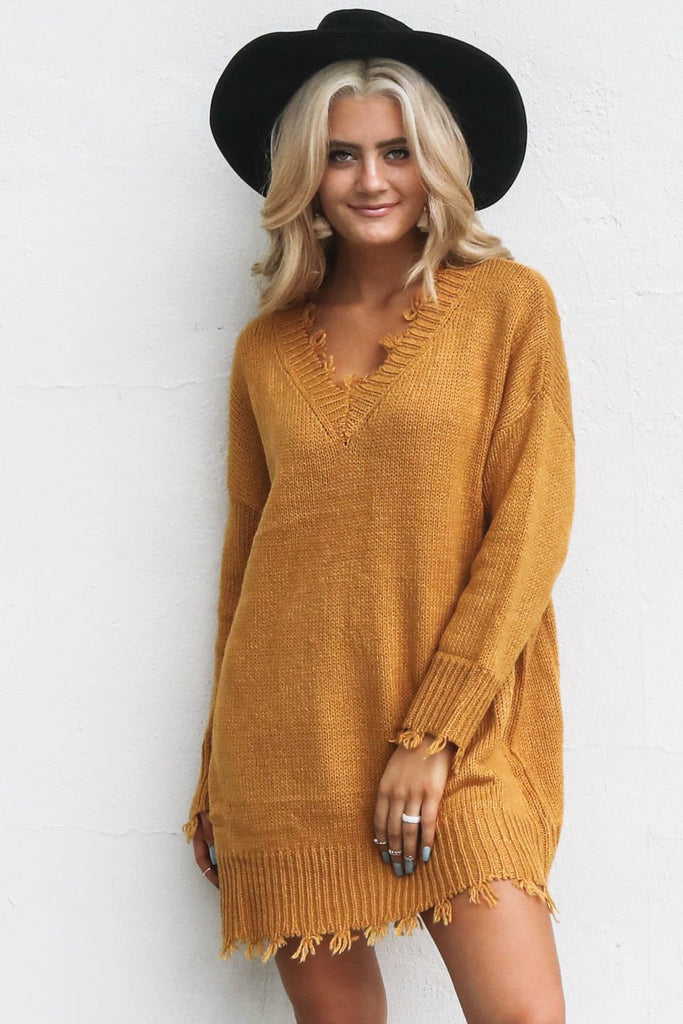 Big Talk Mustard Shredded Sweater Dress