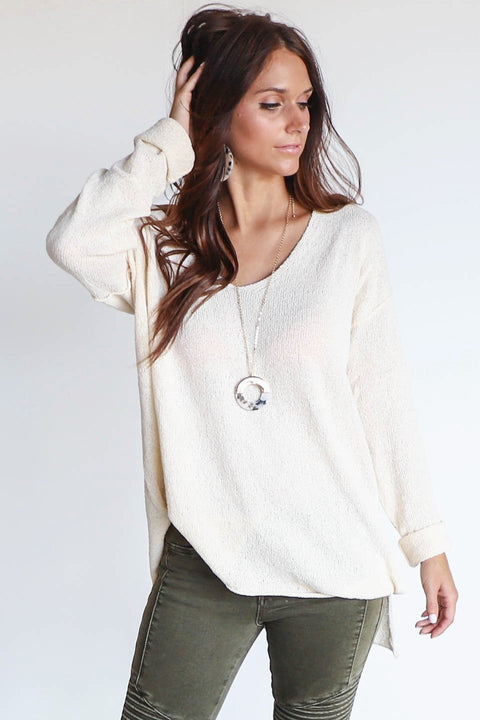 True Meaning Natural V-Neck Sweater Pullover
