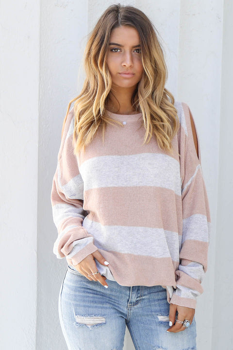 Can't Deny It Natural Cold Shoulder Sweater - Amazing Lace