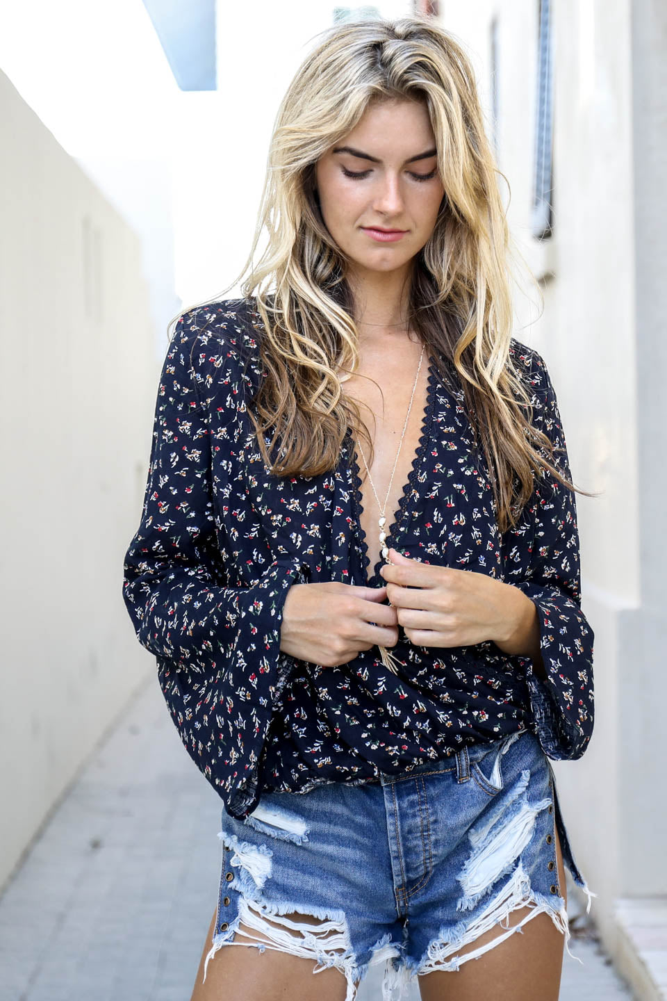 Little Town Love Navy Surplice Top - Amazing Lace