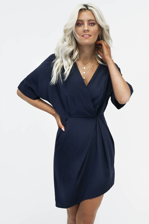Movie Star Navy A-Symmetrical V Neck Dress