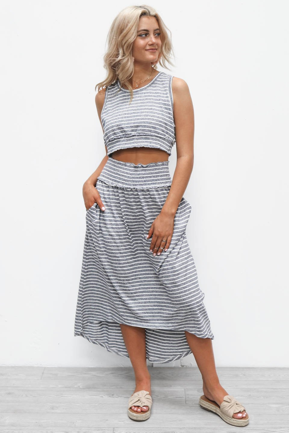 Girls Trip Navy Striped Midi Skirt Set