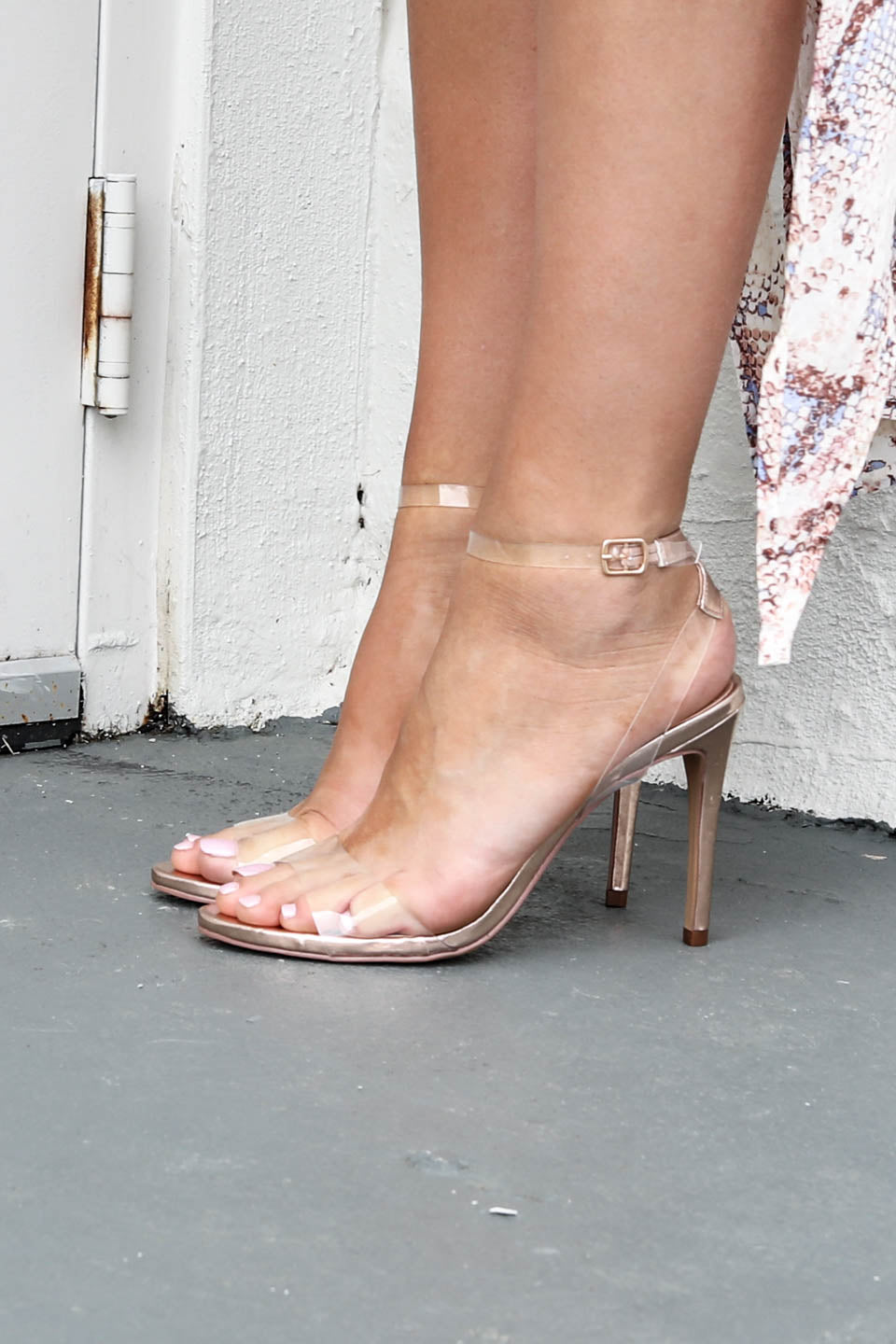 Leaving Late Rose Gold Heel With Clear Strap
