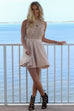 Glimmering Daydream Beige Texture Lace Double Layer Dress - Amazing Lace