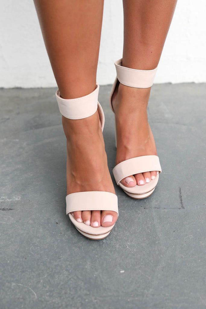 The Low Down Nude Platform Strap Heels