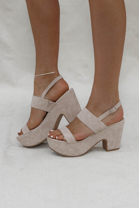 All Inclusive Nude Suede Platform Heel