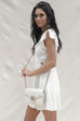 The Land Cream Linen Wrap Button Dress