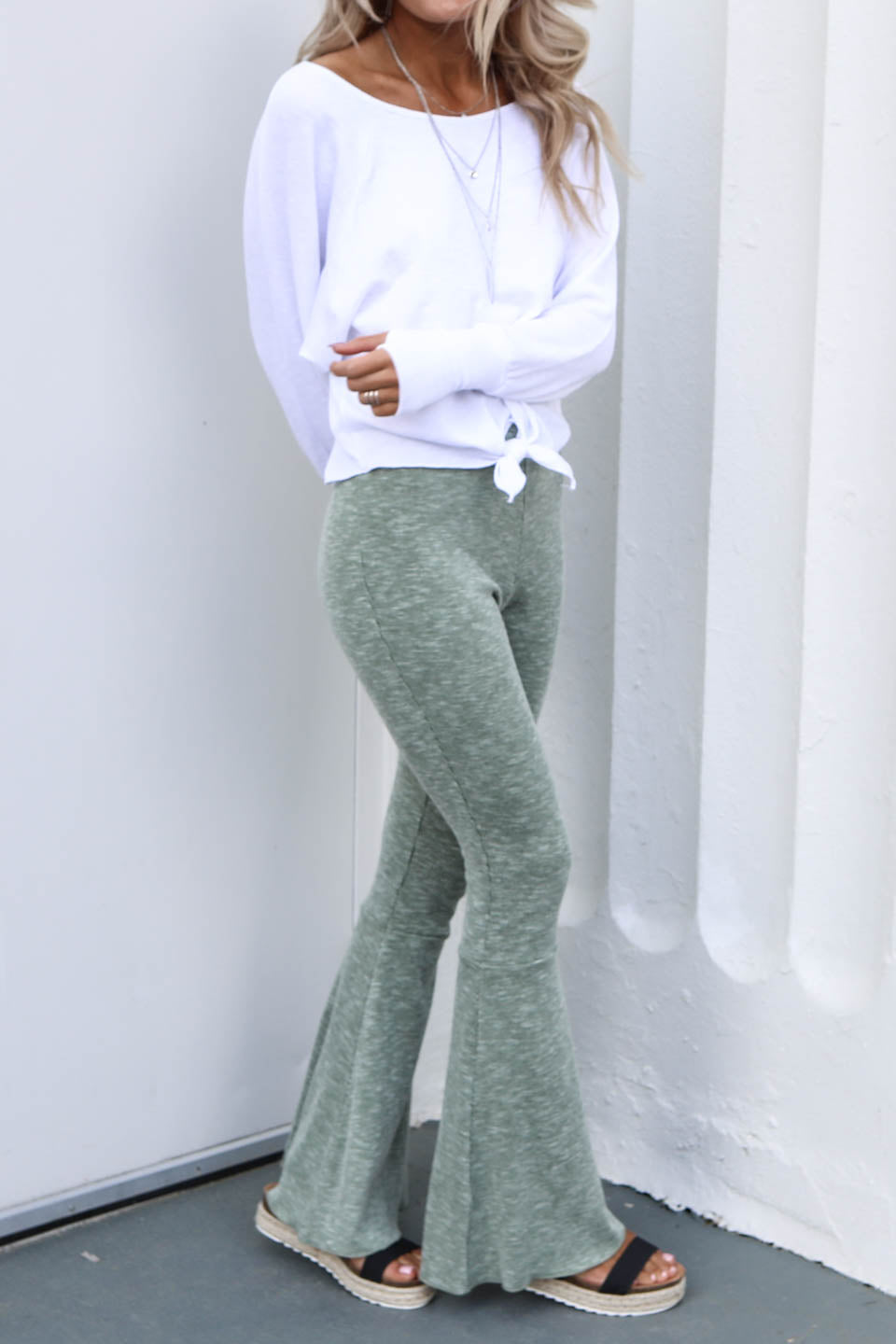 Half Moon Sage Flare Bottoms