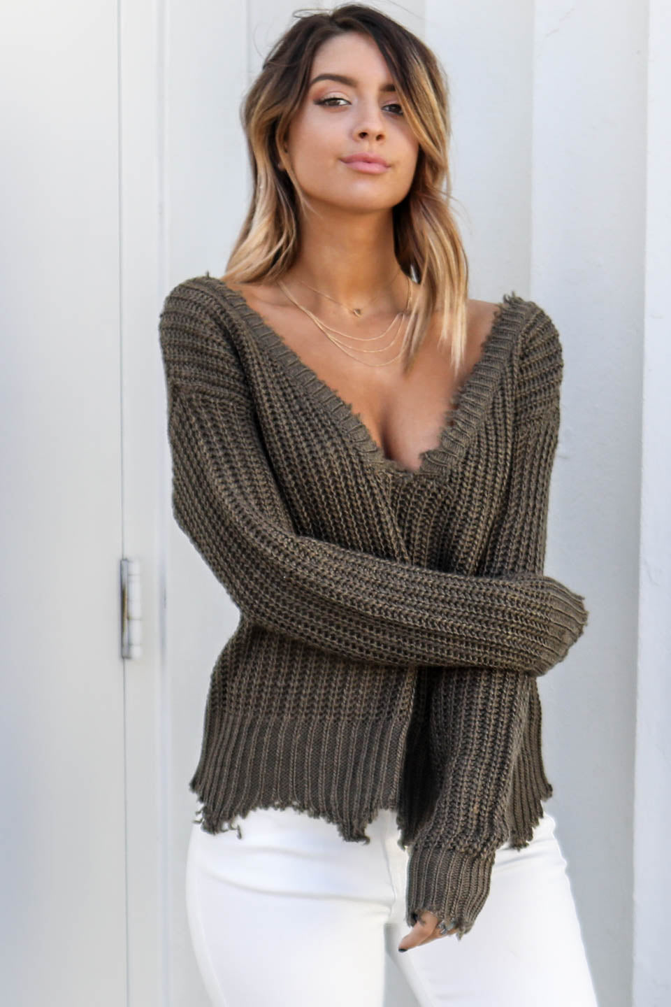 Going For It Olive Deep V-Neck Distressed Sweater